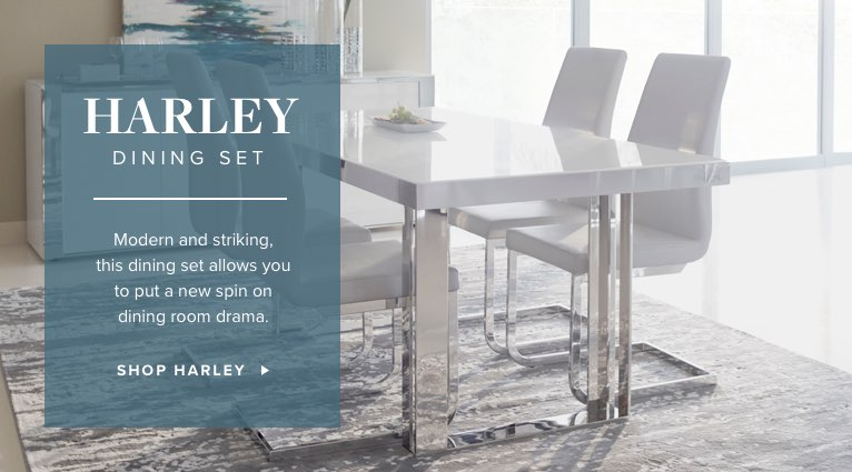 Harley Dining Set. Modern and striking, this dining set allows you to put a new spin on dining room drama. Shop Harley.