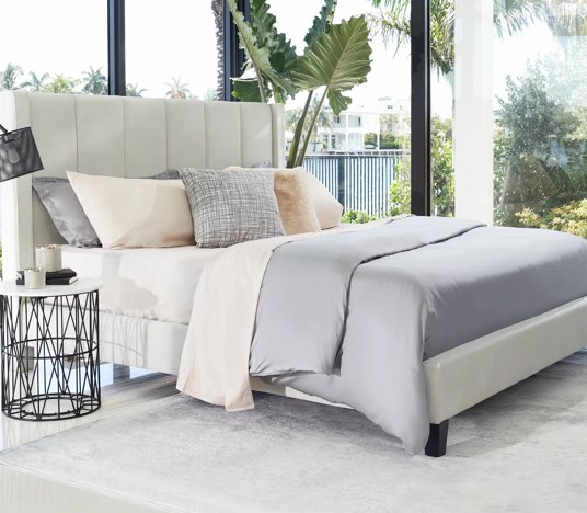 Save on Audrey Velvet Queen Bed. Click to shop.
