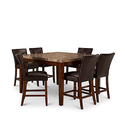 City Lights Square Marble High Table & 4 Upholstered Barstools. Shop Now.
